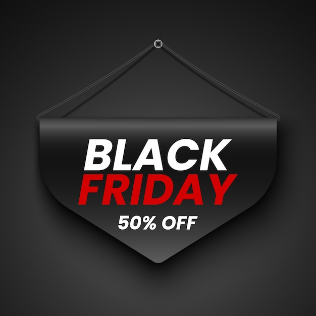 Черная пятница продажа баннер. тег. иллюстрации. Premium векторы