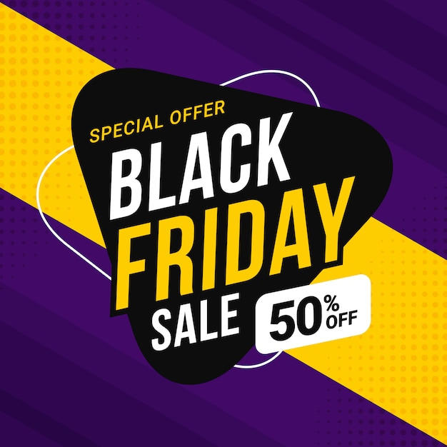 Black friday sale banner template for business promotion Premium Vector