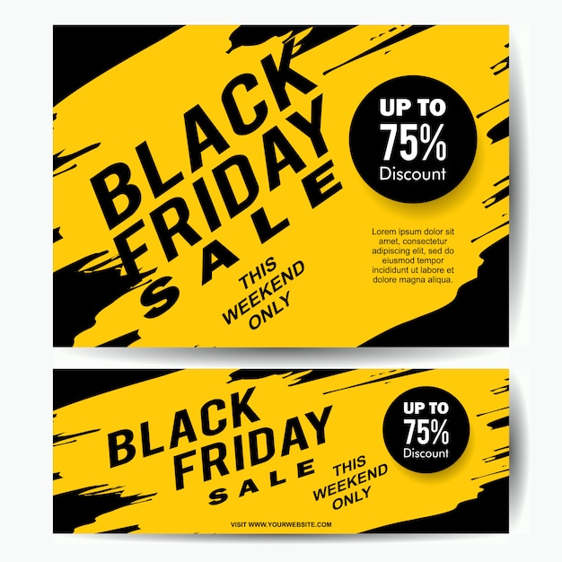 Black friday sale banner template with yellow ink splash Premium Vector