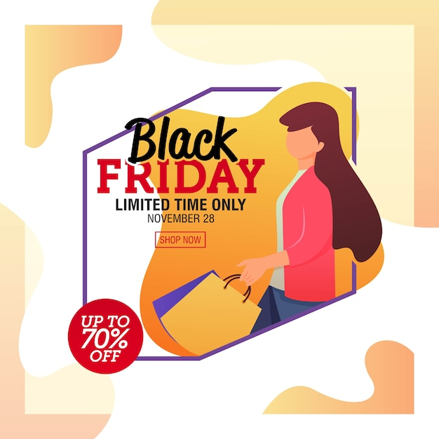 Black friday sale banner template Premium Vector