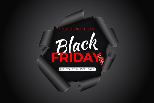 ブラックフライデーセールバナー。黒い金曜日タグ付きの紙に破れた穴。ブラックフライデーセールのチラシ。図 Premiumベクター