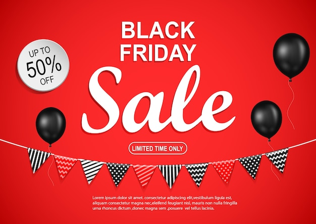 Black friday sale banner with black balloon on red background. Premium Vector