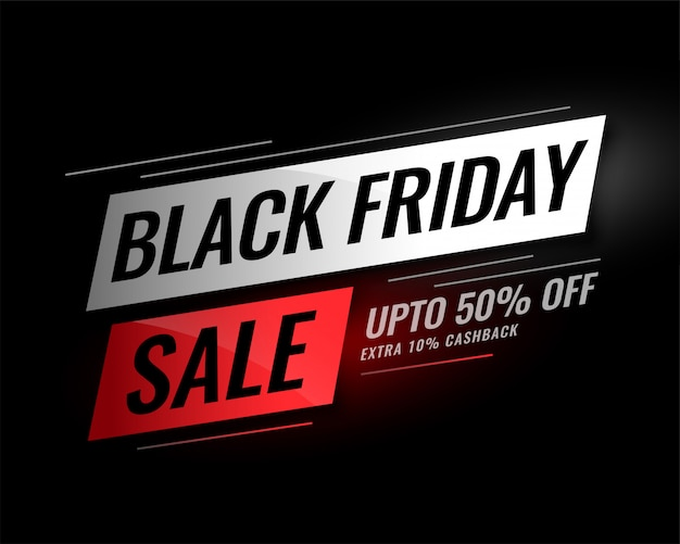 Black friday sale banner with discount details Free Vector