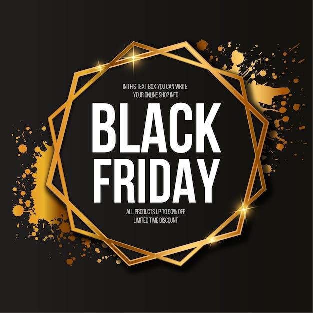 Black friday sale banner with elegant golden frame Free Vector