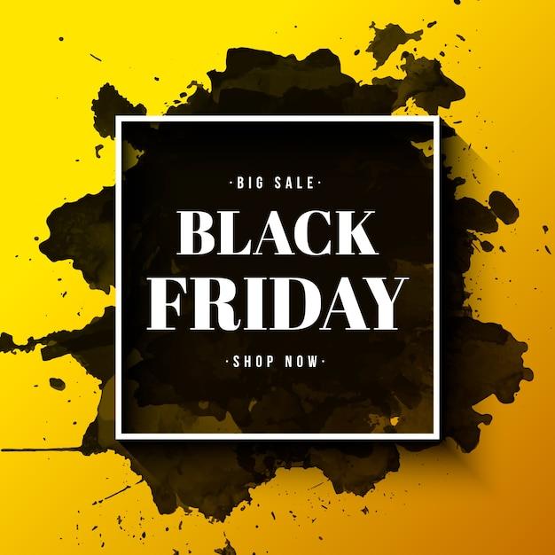 Banner di vendita del black friday con cornice e schizzi ad acquerello Vettore gratuito