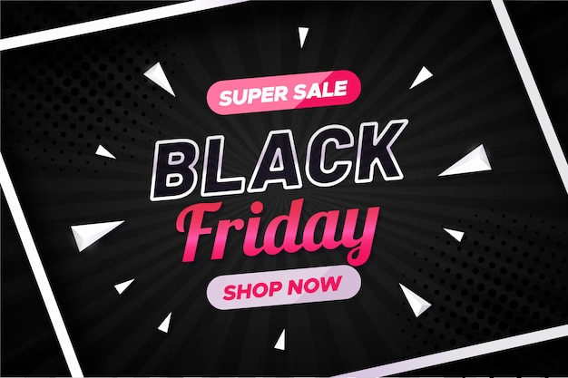Black friday sale banner with geometrical shapes Free Vector