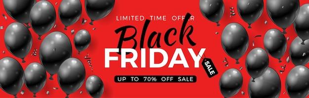 光沢のある黒い風船、タグ、紙吹雪の黒い金曜日販売バナー。ブラックフライデーセールチラシ用。赤の背景に現実的なイラスト Premiumベクター