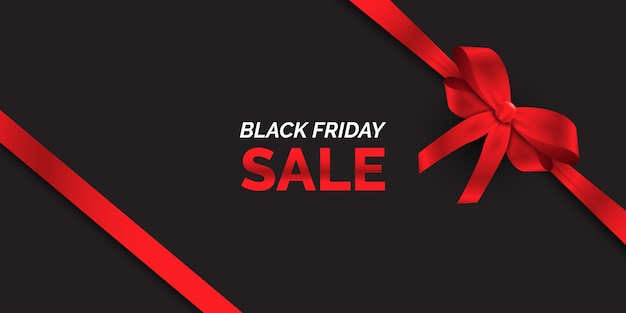 Black friday sale banner with glossy red ribbon Free Vector