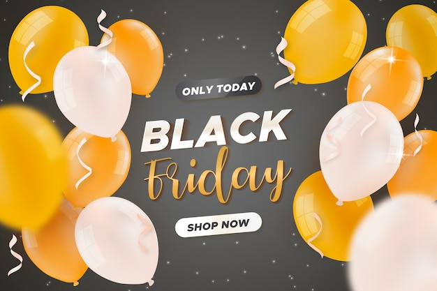 Black friday sale banner with golden balloons Free Vector