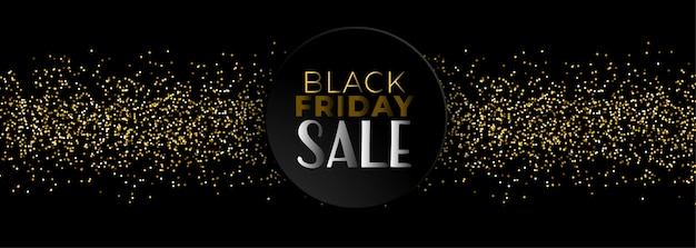 Black friday sale banner with golden glitter Free Vector
