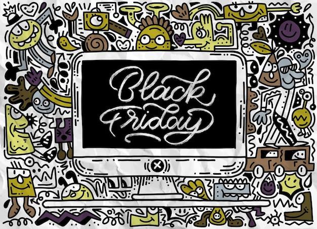 手描きイラスト付きブラックフライデーセールバナー。ブラックフライデーセールの手レタリングと落書き要素 Premiumベクター