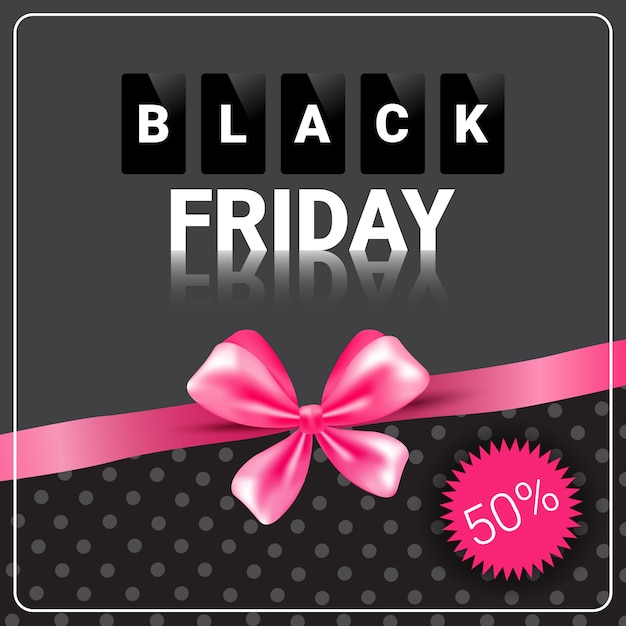Black friday sale banner with pink ribbon design shopping discount Premium Vector