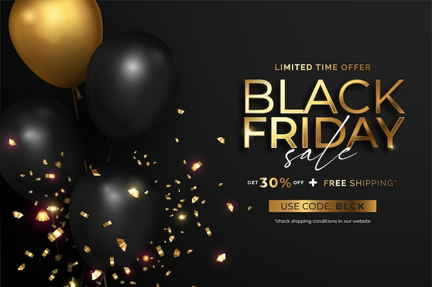 Black friday sale banner with realistic balloons and confetti Free Vector