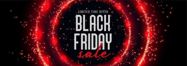 Black friday sale banner with red circular sparkles Free Vector