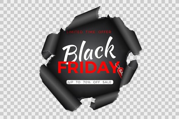 紙に破れた穴と透明な背景に黒い金曜日タグ付きブラックフライデーセールバナー Premiumベクター