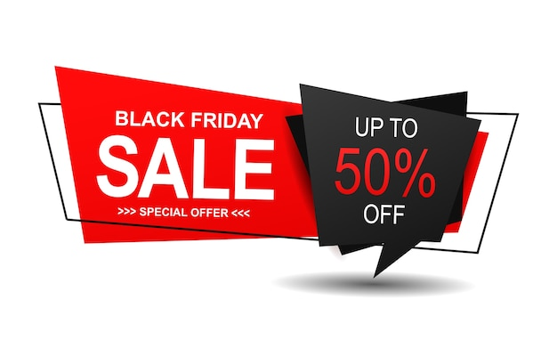 Black friday sale banner with trendy flat geometry. Premium Vector