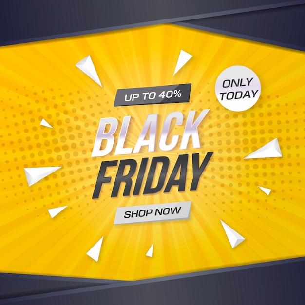 Black friday sale banner with yellow background Free Vector