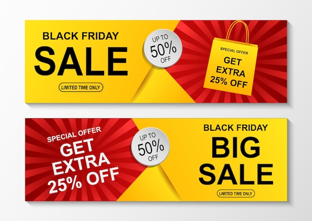 Black friday sale banner. Premium Vector