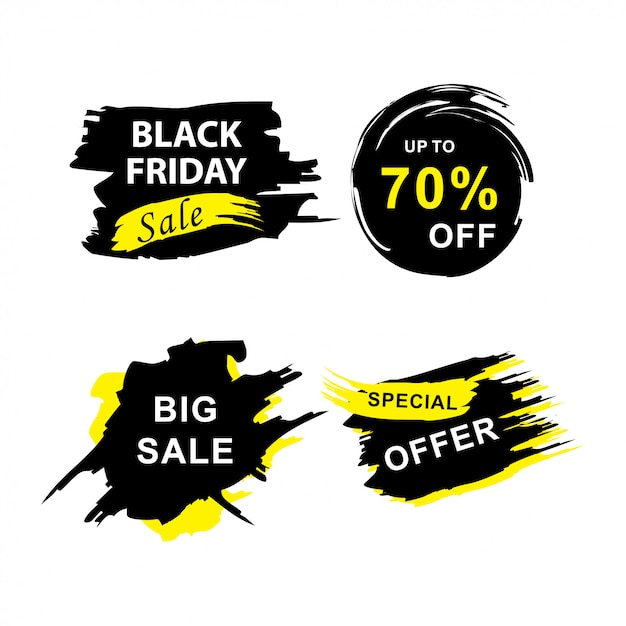 Black friday sale banners set with grunge Premium Vector