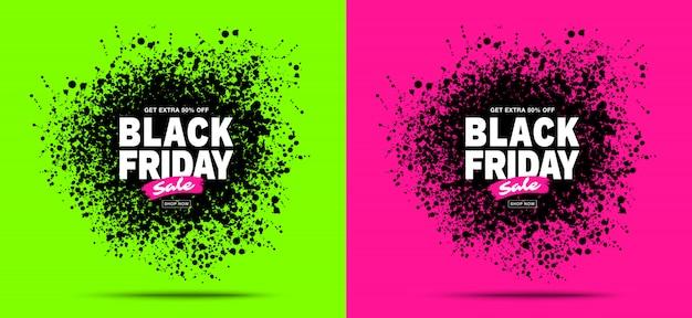 Black friday sale banners set. Premium Vector