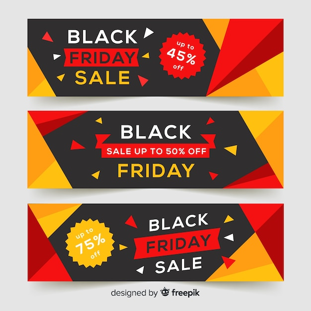 Black friday sale banners Free Vector