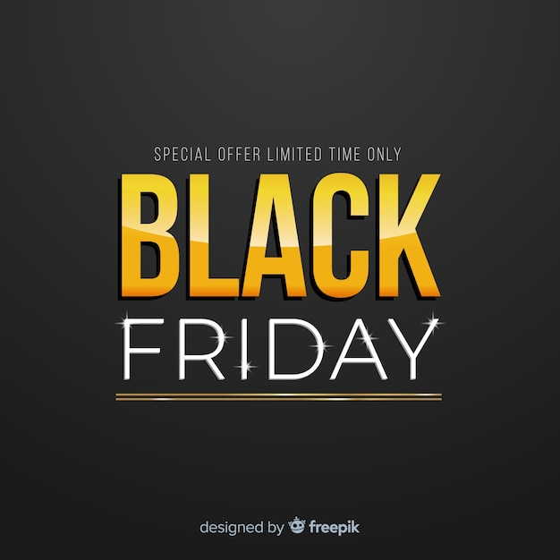 Black friday sale black and gold background Free Vector