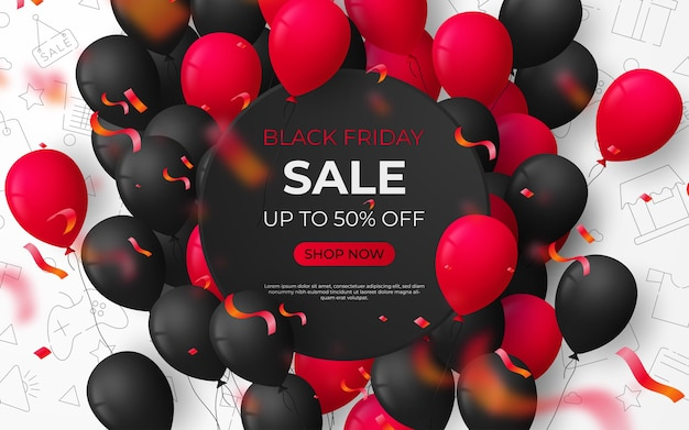 Black friday sale black and white banner template. Premium Vector