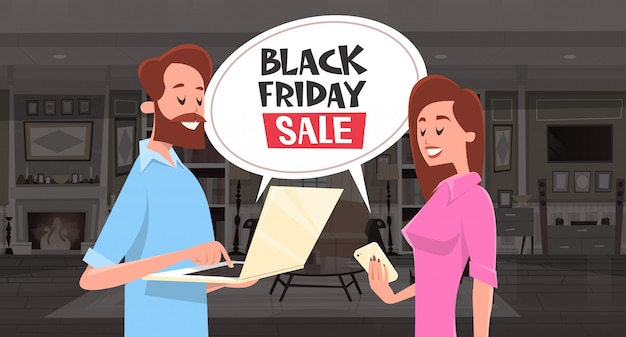 Black friday sale chat bubble message with man and woman using smartphone and laptop Premium Vector