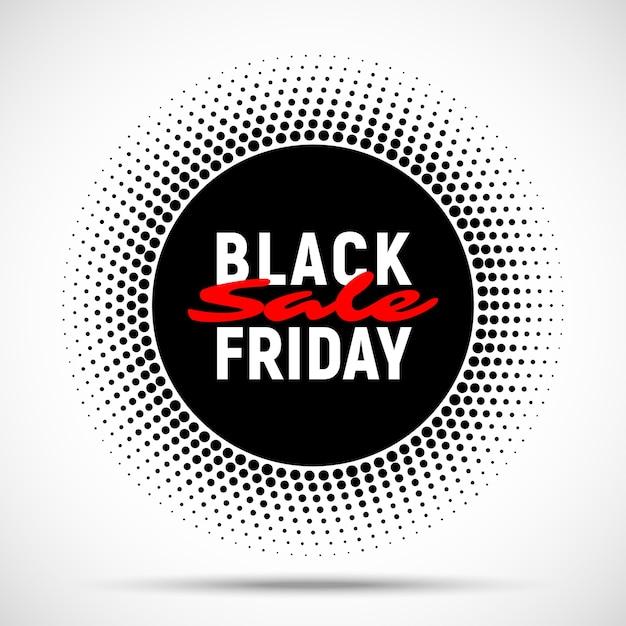 검은 금요일 판매 원 배너 배경, 광고, 로고, 라벨, 인쇄, 포스터, 웹, 프리젠 테이션을위한 하프 톤 라운드 태그. . 프리미엄 벡터