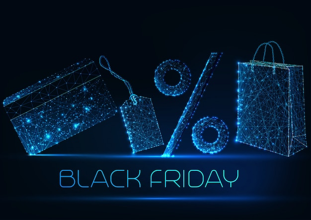 Black friday sale concept with glowing low poly shopping bag, price tag, percentage and credit card Premium Vector