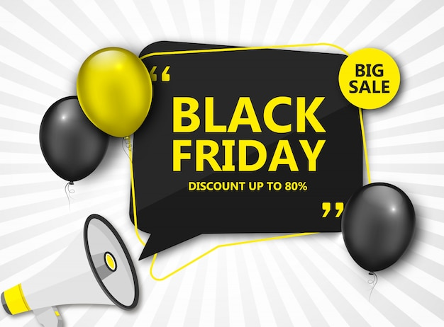 Black friday sale. discount banner with balloons Premium Vector