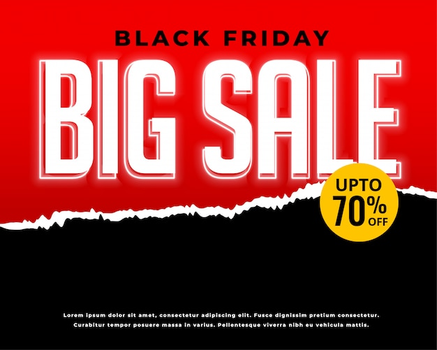 Black friday sale and discount red banner Free Vector