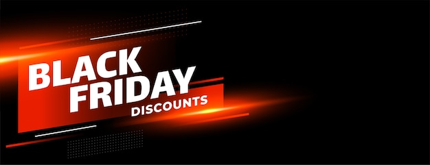 Black friday sale discounts shiny banner on black background Free Vector