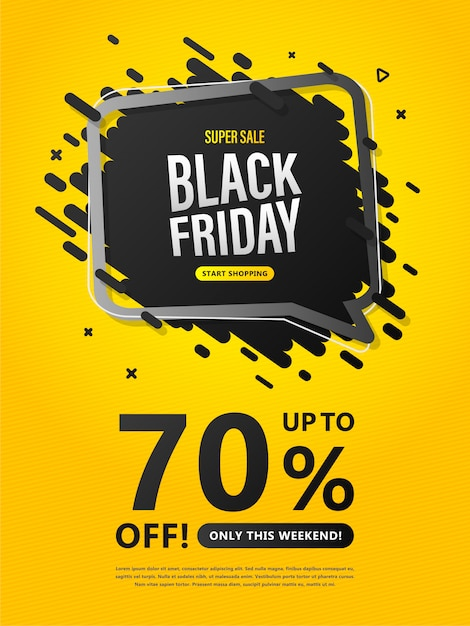 Black friday sale flyer. colorful poster with discount up to 70% Premium Vector