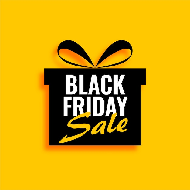 Black friday sale gift on yellow background Free Vector