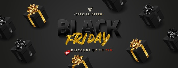 Black friday sale. golden text lettering on realistic black gift boxes. Premium Vector