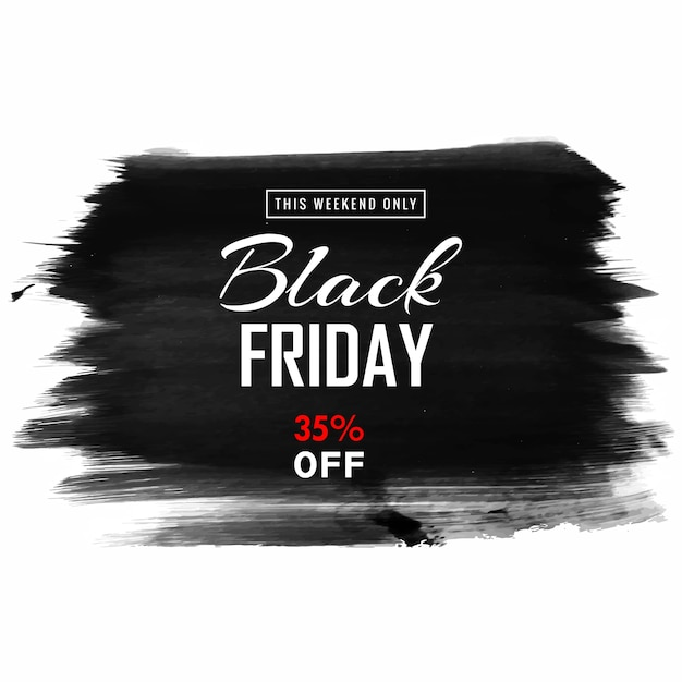 Vendita venerdì nero per mano disegnare sfondo pennello Vettore gratuito
