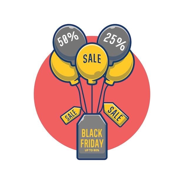 Черная пятница распродажа висит бирка и шарж иллюстрации шаржа Premium векторы