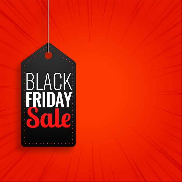 Black friday sale hanging tag on red background Free Vector