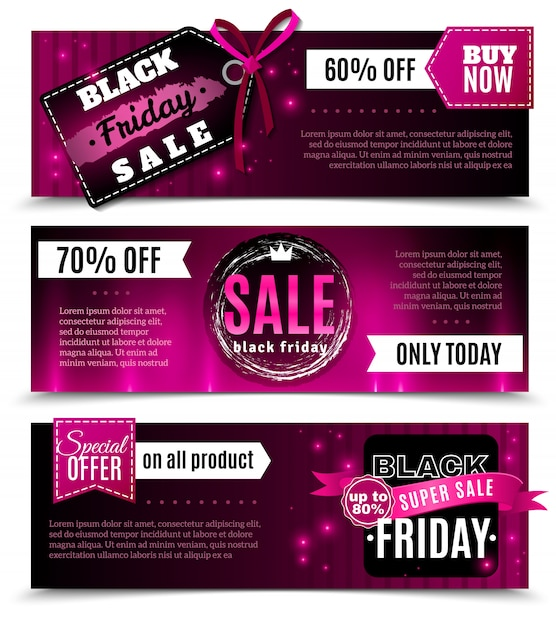 Black friday sale horizontal banners Free Vector