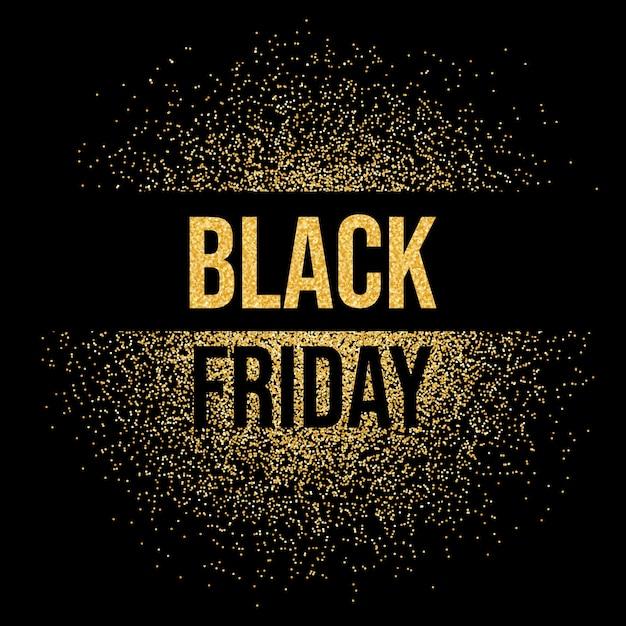 검은 금요일 판매 비문 텍스트 골드 반짝이 배경. 블랙 프라이데이는 골드 반짝임을 빛납니다. 프리미엄 벡터