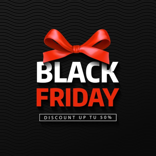 Black friday sale inscription with red bow. black friday banner. Premium Vector