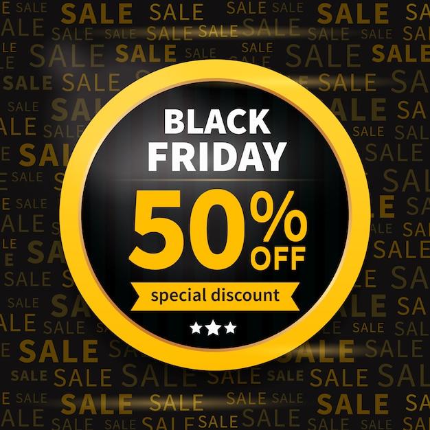 Black friday sale label on typography discount banner Premium Vector