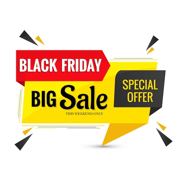 Black friday sale lable banner design Free Vector