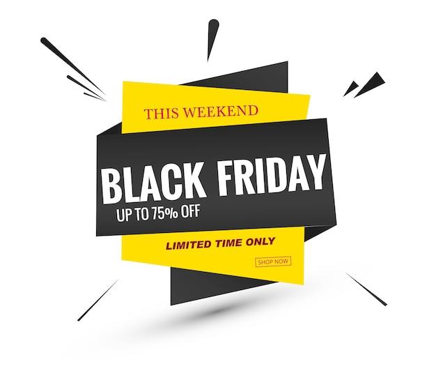 Black friday sale lable banner design Free Vector
