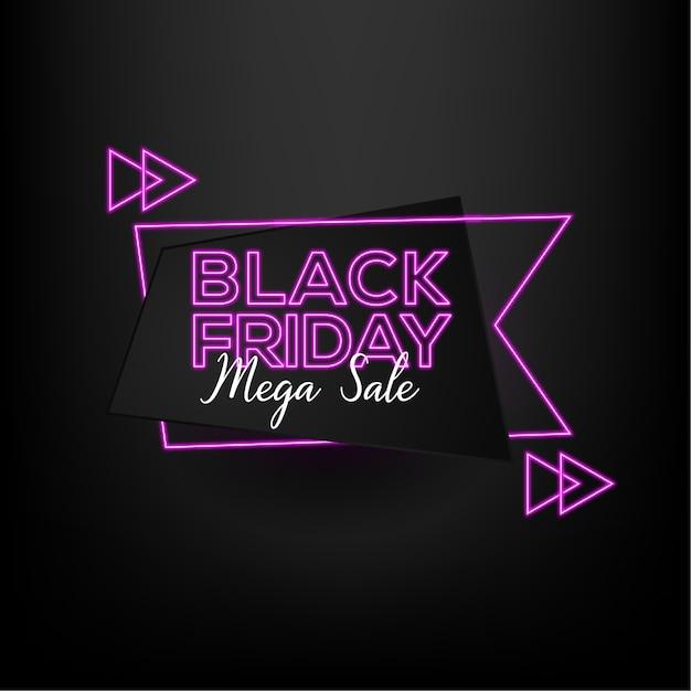 ネオン効果スタイルと黒の背景を持つブラックフライデーセールメガセール Premiumベクター