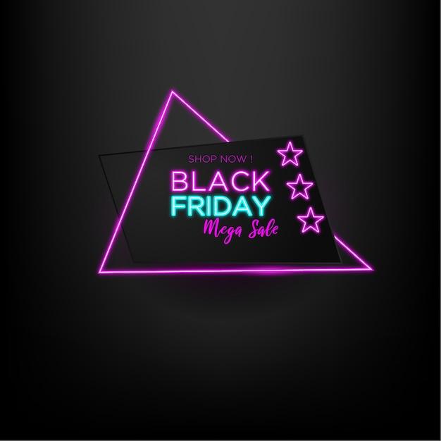 三角形のネオンと黒の背景を持つブラックフライデーセールメガセール Premiumベクター