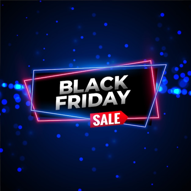 Black friday sale neon background with glowing particles Free Vector