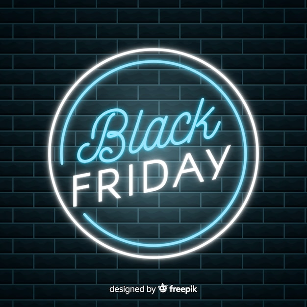 Black friday sale neon background Free Vector