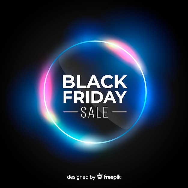Black friday sale neon lights background Free Vector